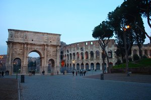 The  Coliseum and the Arch of Constantine