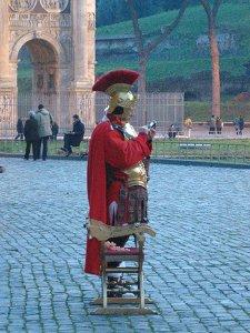 A Roman sending an SMS