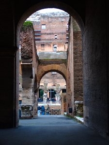 Through  an arch in the Coliseum