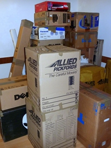 Some of the boxes ready to be unpacked